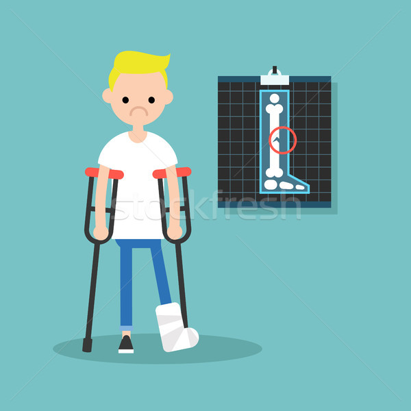 Disabled blond boy on crutches with broken leg / editable vector Stock photo © nadia_snopek
