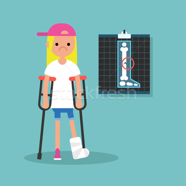 Disabled blond girl on crutches with broken leg / editable vecto Stock photo © nadia_snopek