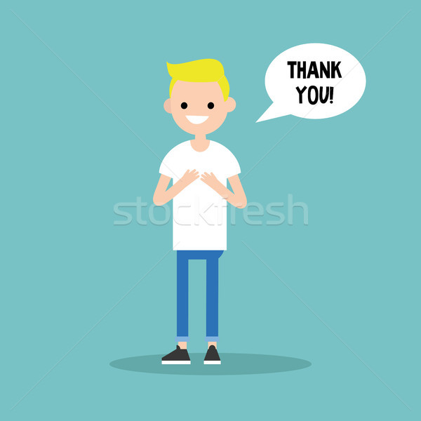 Young grateful blond boy says 'Thank you' / flat editable vector Stock photo © nadia_snopek