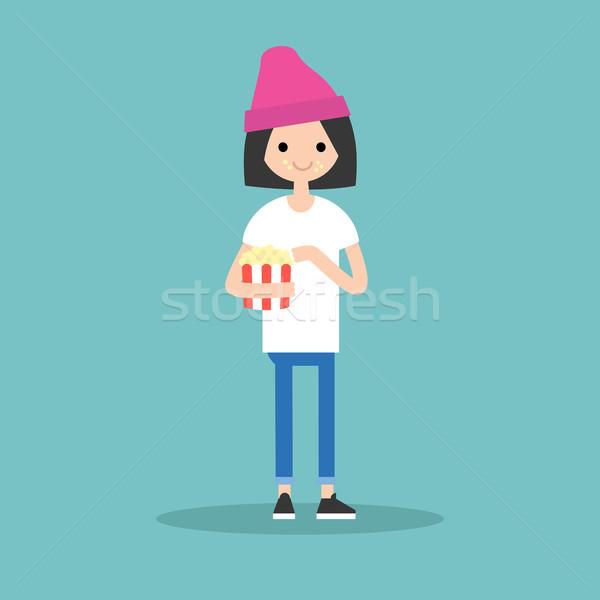 Genç sevimli kız patlamış mısır tam uzunlukta Stok fotoğraf © nadia_snopek