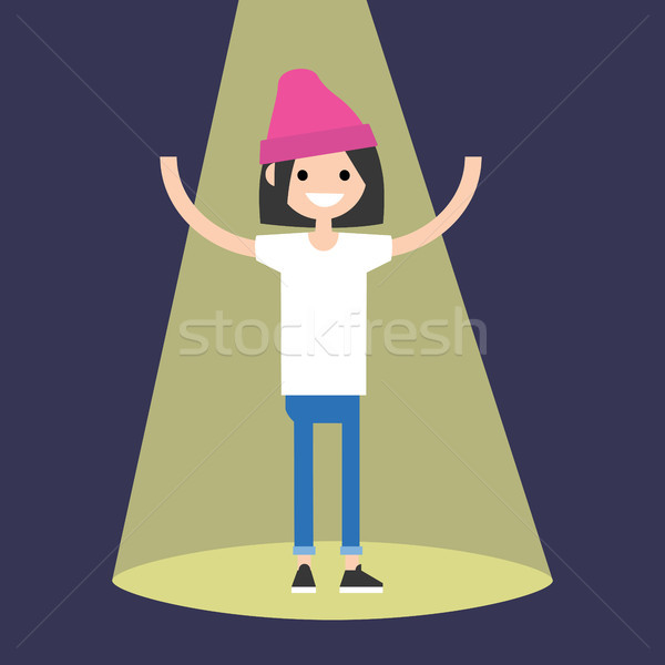 Fiatal sikeres barna hajú lány áll reflektor Stock fotó © nadia_snopek
