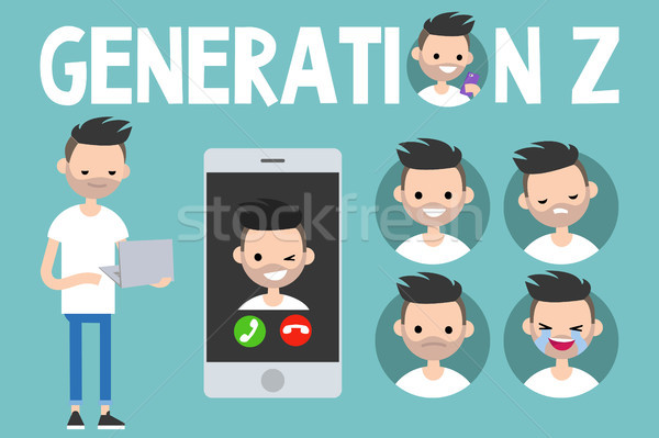 Stock photo: Generation Z conceptual set: sign, full length young man holding