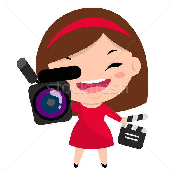 Smiling girl with camera and clapperboard wearing red dress and  Stock photo © nadia_snopek