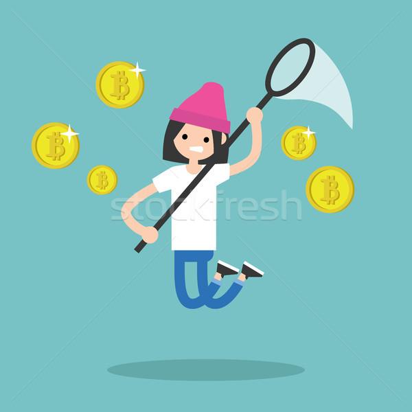 Young female character mining bitcoins. Conceptual illustration, Stock photo © nadia_snopek
