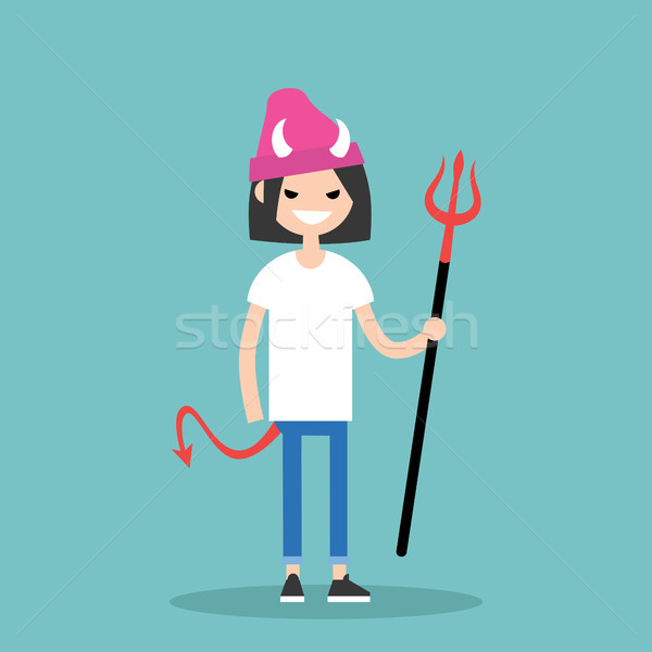 Young female character wearing devil elements: horns, tail and t Stock photo © nadia_snopek