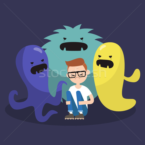 Scared character surrounded by ugly monsters / flat editable vec Stock photo © nadia_snopek
