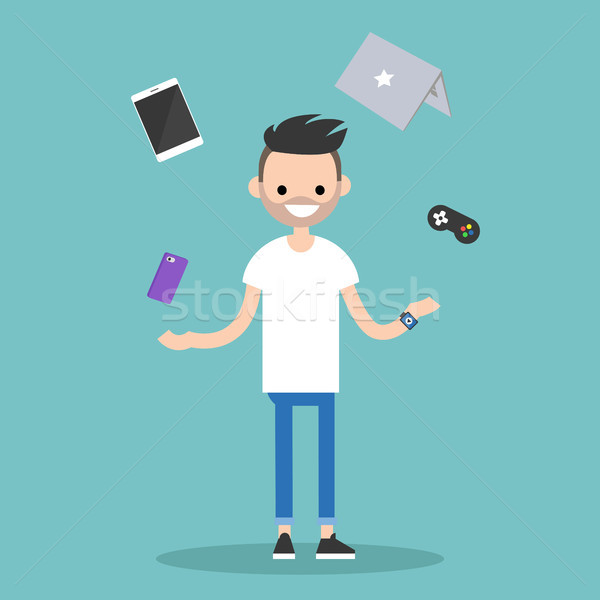 Young bearded man juggling electronic devices / editable flat ve Stock photo © nadia_snopek