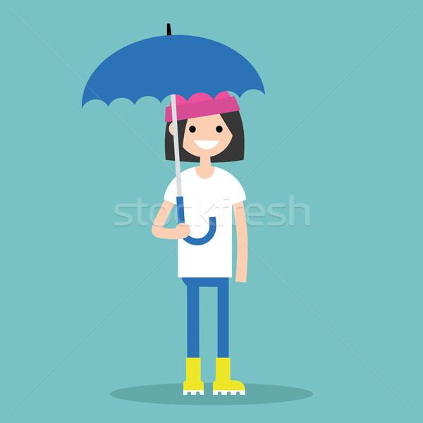 Stockfoto: Jonge · glimlachend · meisje · paraplu · Geel