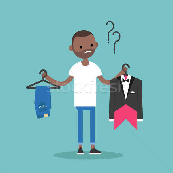 Difficult choice. Young black man trying to decide what to wear  Stock photo © nadia_snopek