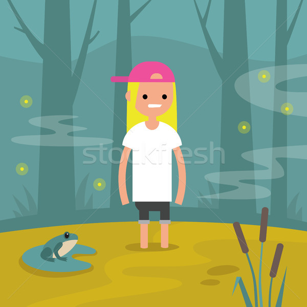 Stock photo: Young female character stuck in the swamp / flat editable vector
