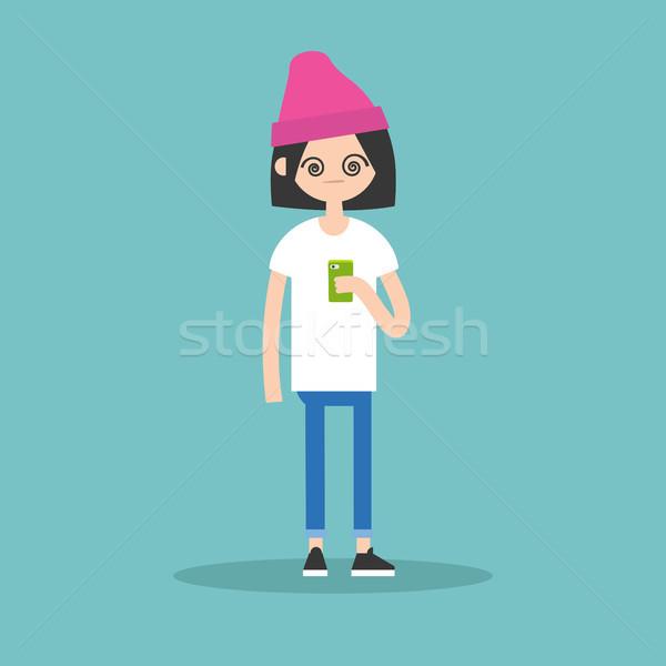 иллюстрация смартфон экране девушки Сток-фото © nadia_snopek