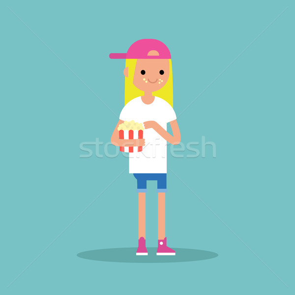 young blond girl chewing popcorn / full length character. flat v Stock photo © nadia_snopek