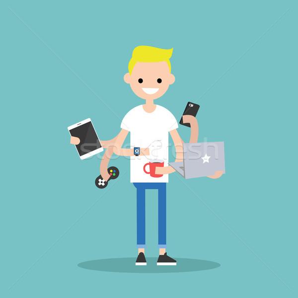 Multitasking giovani uomo tempo Foto d'archivio © nadia_snopek