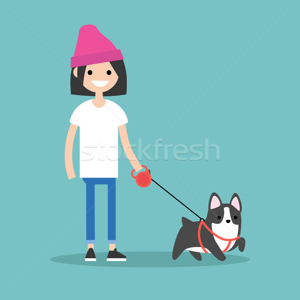 Young smiling girl walking the dog / flat editable vector illust Stock photo © nadia_snopek