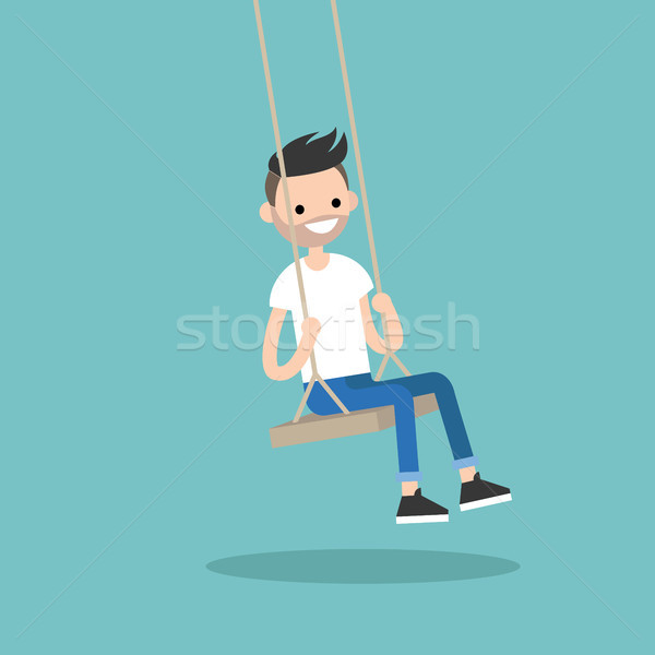 Jeunes barbu homme séance Swing Photo stock © nadia_snopek