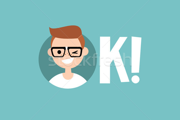 Drôle nerd illustré signe Photo stock © nadia_snopek