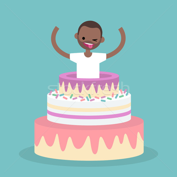 Young black character jumping out of a cake / flat editable vect Stock photo © nadia_snopek