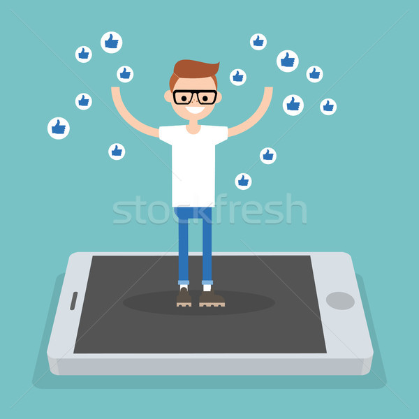 Young successful boy standing on mobile screen and raising his h Stock photo © nadia_snopek