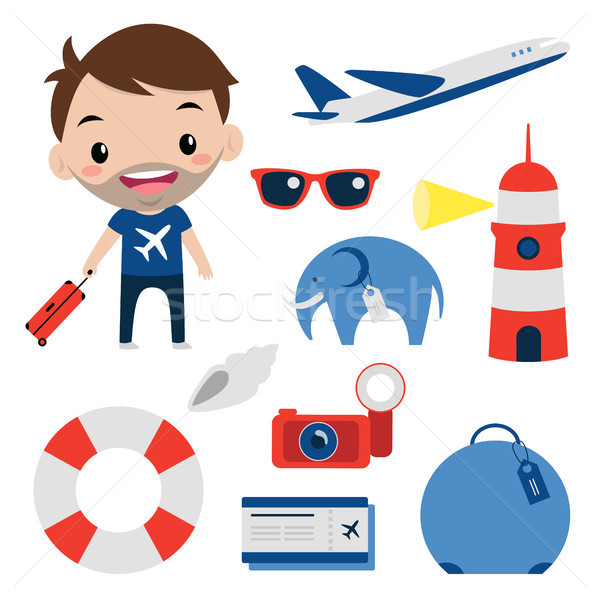 Travel set. Flat icons. Smiling tourist / Editable cartoon vecto Stock photo © nadia_snopek