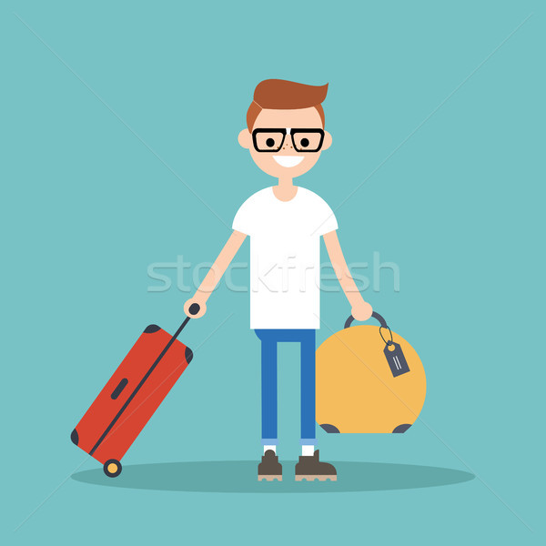 Young nerd travelling with his luggage / flat editable vector il Stock photo © nadia_snopek