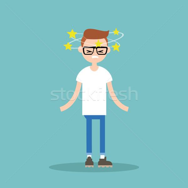 Ilustración jóvenes nerd estrellas alrededor cabeza Foto stock © nadia_snopek