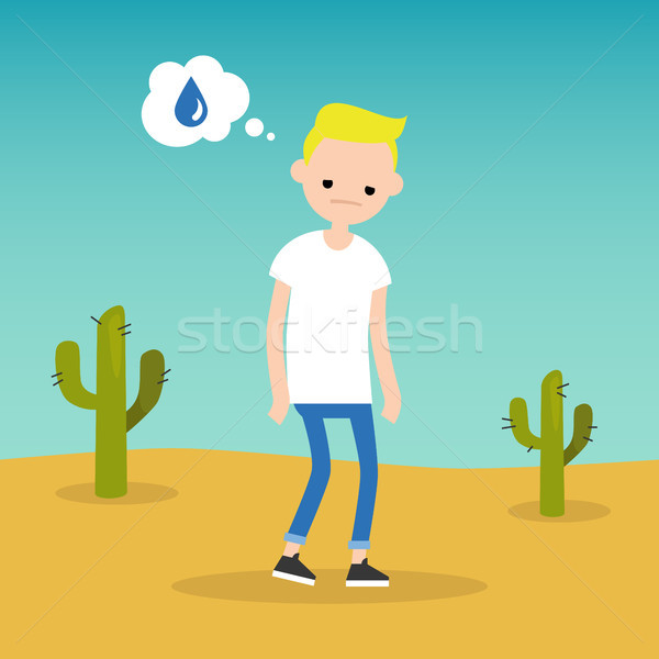 Thirsty blond boy dreaming about water / flat editable vector il Stock photo © nadia_snopek