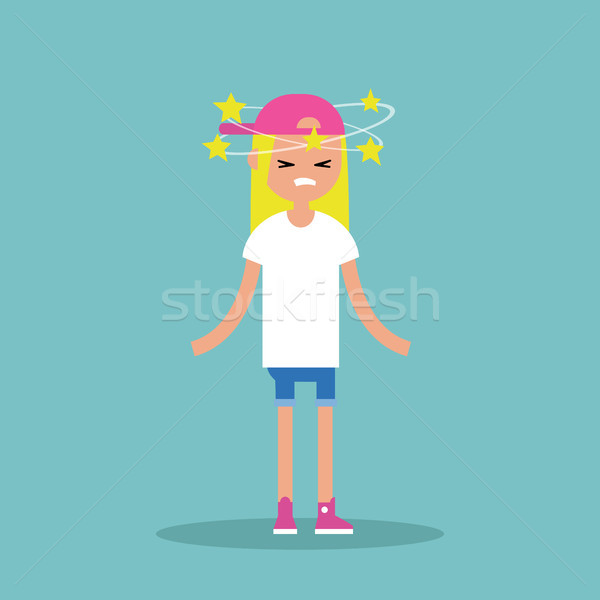 Dizziness conceptual illustration. Young blond girl with stars s Stock photo © nadia_snopek