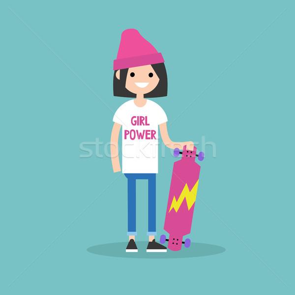 Görkorcsolyázó lány visel póló erő felirat Stock fotó © nadia_snopek