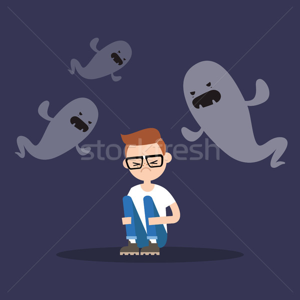 Scared nerd surrounded by ghosts / flat editable illustration Stock photo © nadia_snopek
