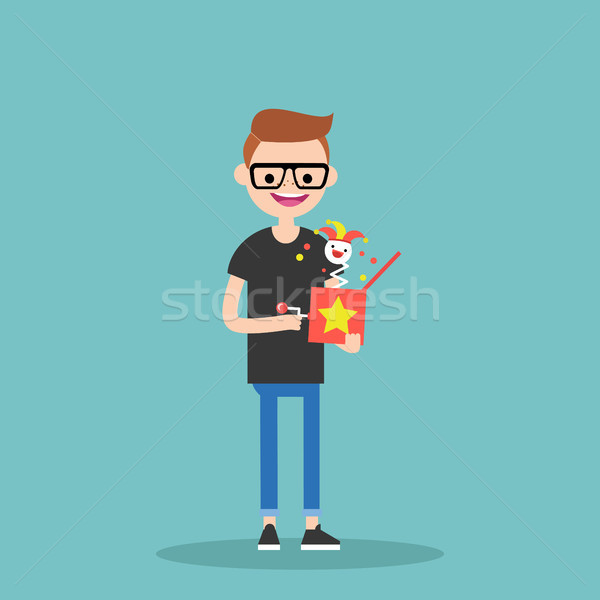 Young character holding a Jack in the box / flat editable vector Stock photo © nadia_snopek