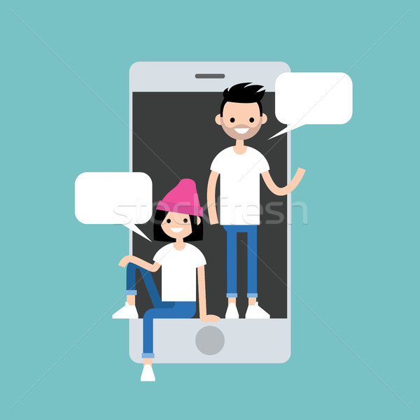 Mobiles messenger amis à l'intérieur puce Photo stock © nadia_snopek