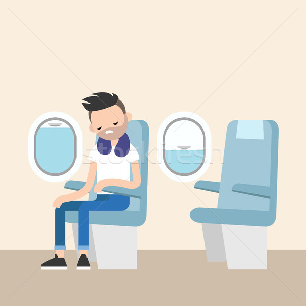 Trendy bearded man sleeping on the plane / editable flat vector  Stock photo © nadia_snopek