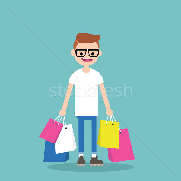 Young nerd holding shopping bags / flat editable vector illustra Stock photo © nadia_snopek