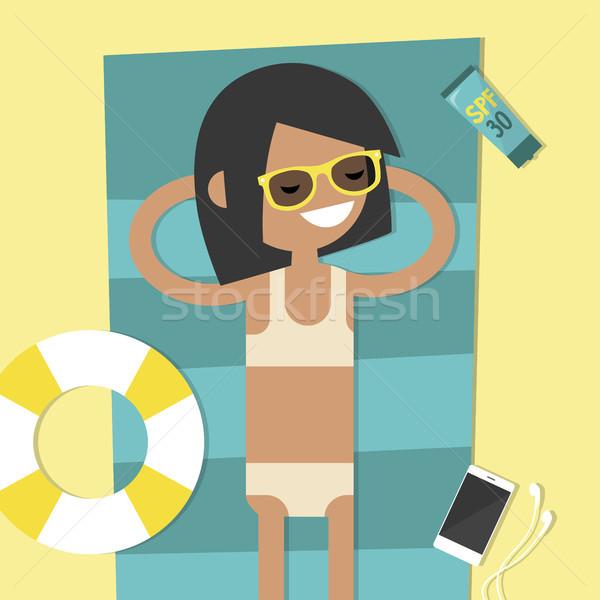 Young female character lying on the beach. Top view / flat edita Stock photo © nadia_snopek