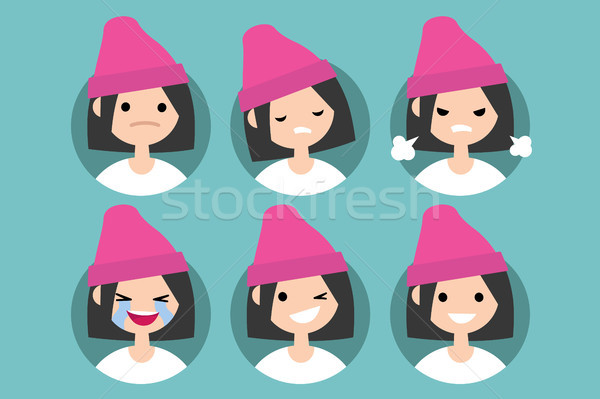 Young girl wearing pink beanie profile pics / Set of flat vector Stock photo © nadia_snopek