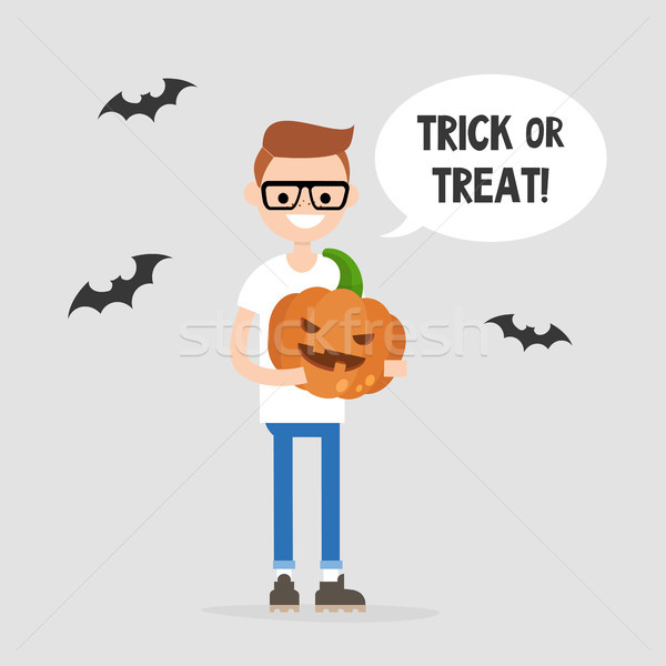 Trick or treat, Halloween illustration. Young character holding  Stock photo © nadia_snopek