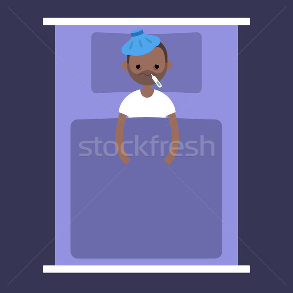 Sick black man lying under the blanket with an ice pack on his h Stock photo © nadia_snopek