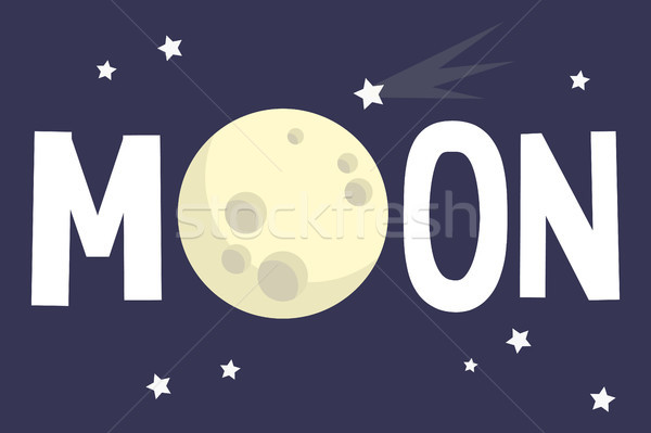 Moon illustrated sign. Full moon conceptual illustration / Flat  Stock photo © nadia_snopek