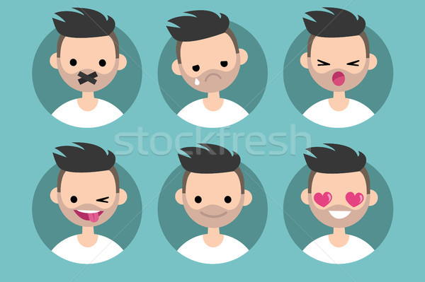 Bearded young man profile pics / Set of flat vector portraits. t Stock photo © nadia_snopek