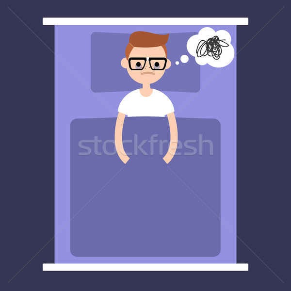 Insomnia conceptual illustration. young nerd lying in the bed wi Stock photo © nadia_snopek