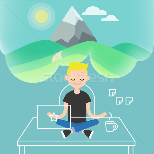 Dealing with stress. Young character meditating in lotus pose wi Stock photo © nadia_snopek