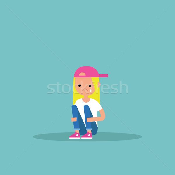 Upset crying girl sitting and hugging her knees / editable flat  Stock photo © nadia_snopek