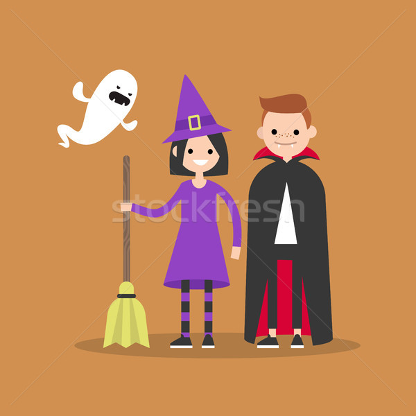 Halloween. Trick or treat set. Flat vector illustration set of c Stock photo © nadia_snopek
