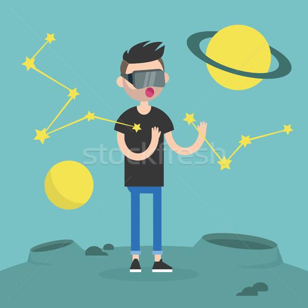 Stockfoto: Jonge · man · virtueel · realiteit · bril · planeten