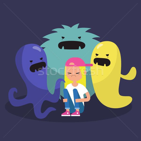 Bang vrouwelijke karakter lelijk monsters Stockfoto © nadia_snopek