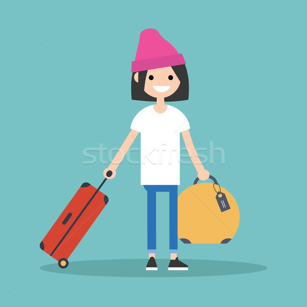 Stock photo: Young teenage girl travelling with her luggage / flat editable v