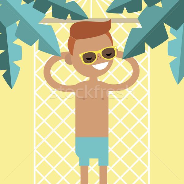 Fiatal férfi karakter függőágy pálmafák felső Stock fotó © nadia_snopek
