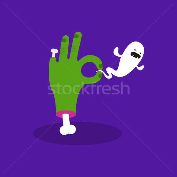 Halloween concept illustration: zombie hand holding a ghost. Tri Stock photo © nadia_snopek