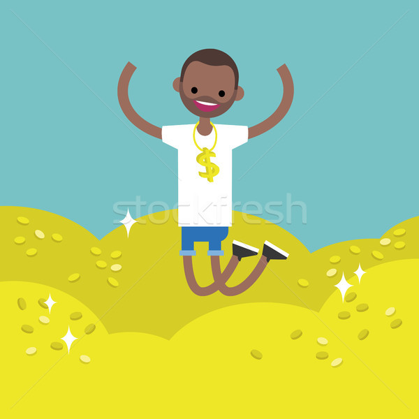 Wallow in money conceptual illustration: young lucky black man j Stock photo © nadia_snopek