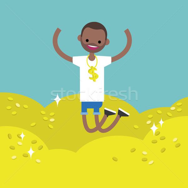 Argent illustration jeunes chanceux homme noir sautant Photo stock © nadia_snopek